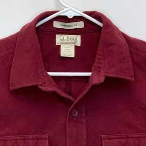 L.L. Bean Mens Flannel Shirt Maroon Large